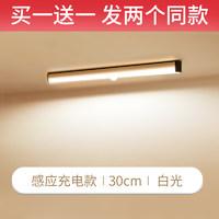 镜前楼梯灯夜间自动无线下床人体感应灯家用过道智能充电雷达长条 300mm充电暖光+数据线