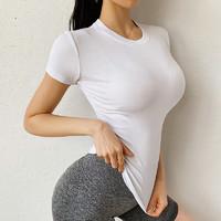 Aisunstyle 欧美ins网红运动上衣女紧身弹力速干T恤薄款网红显瘦瑜伽短袖跑步健身服夏季 白色 L