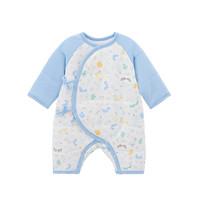 YEEHOO 英氏 丛林嬉戏系列 10095024 婴儿连体衣 和蛤款 月光蓝 52cm