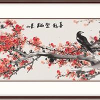 弘舍 王治国 手绘花鸟国画《喜鹊登梅E款》成品尺寸170x55cm 宣纸 雅致胡桃