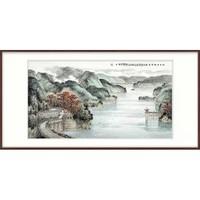 橙舍 黄树文《湖光潋滟》80x160cm 宣纸 2018年 山水画国画
