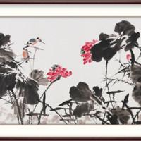 弘舍 王占海 原创手绘荷花国画《荷韵禅真 A》成品尺寸170x90cm 宣纸 雅致胡桃
