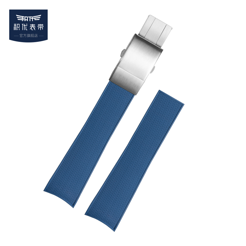 积优表带 代用浪琴康卡斯橡胶表带新款潜水运动男21mm氟橡胶带 22mm 蓝色