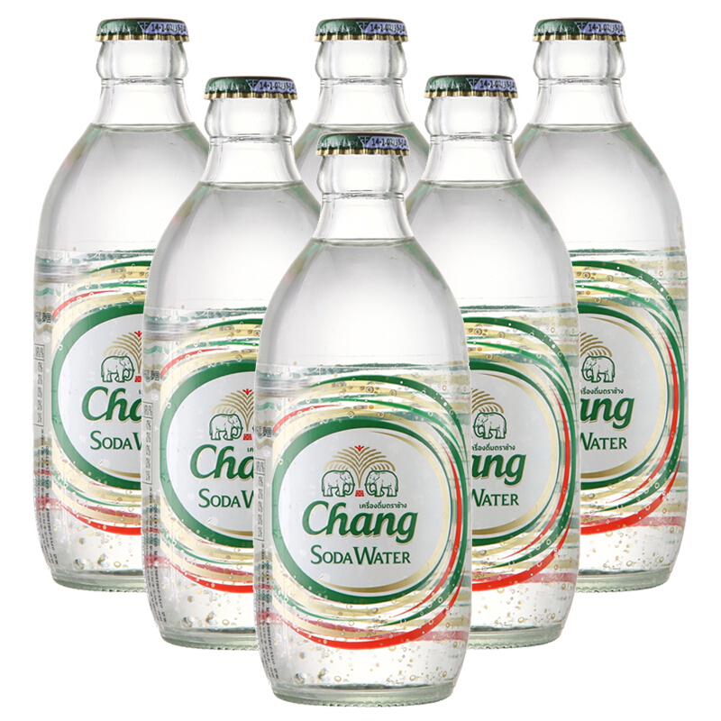 大象 泰国进口 泰象牌Chang大象苏打水0糖0卡0脂气泡水 原味无糖苏打水弱碱性含气泡水饮料 325ml*6瓶