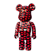 ARTMORN 墨斗鱼艺术 bearbrick black heart款1000% PVC材质 积木熊摆件 34x25x70cm