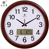 七王星圆形16英寸日历挂钟客厅创意家用时钟静音多功能电子大钟表温度显示石英钟 119木纹日历