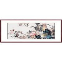 弘舍 吴亚坤  手绘荷花国画《和气满堂》210×80cm 宣纸 典雅紅褐