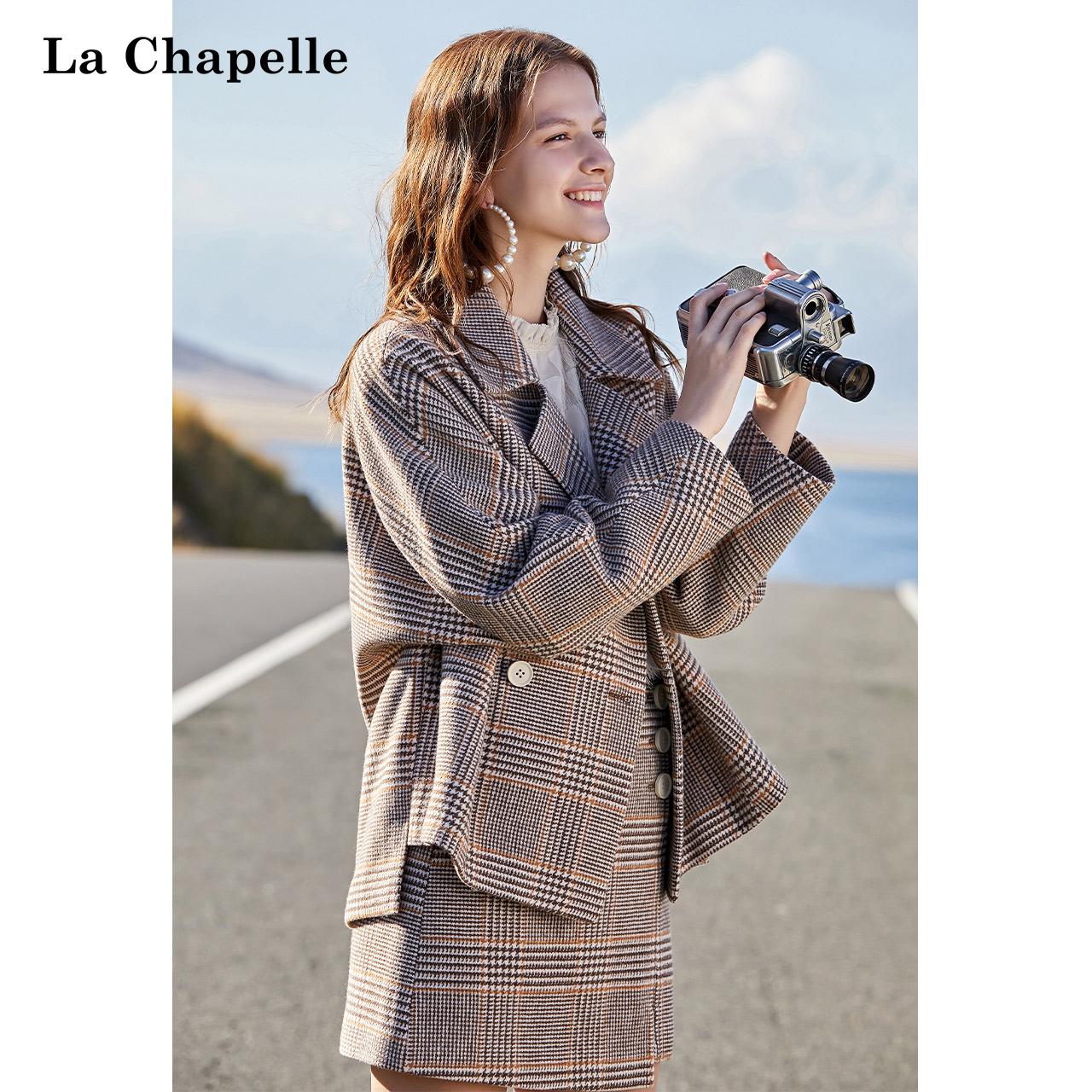 La Chapelle 拉夏贝尔 女士格纹西装裙+西装外套套装