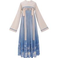 织羽集 沧溟 汉元素蕾丝娃娃领裙 女装 Y03961 蓝色渐变 S