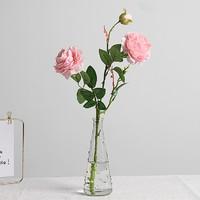 凉笙 简约花艺套装 1支粉色牡丹 小雨点花瓶