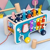 亲子互动多人游戏大象打地鼠车男女宝宝敲击玩具木质拖拉车警车打地鼠大号启智积木玩具 大象敲琴打地鼠