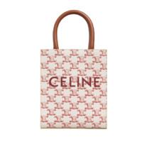 CELINE 思琳 女士迷你标志印花和牛皮革手袋 194372BZK 27ED 红色
