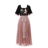 织羽集 灵曜 汉元素短袖刺绣连衣裙  Y04041 黑色/豆沙 S