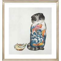 ARTMORN 墨斗鱼艺术 张渺《都是我的》36×40cm 数码微喷版画 动物猫艺术品 新中式轻奢挂画现代简约