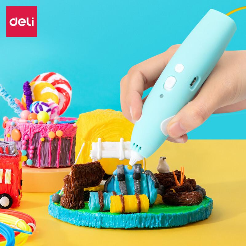deli 得力 74860 儿童3D绘画打印笔 升级版 低温充电款 附5色耗材