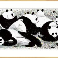 弘舍 吴冠中 国宝大熊猫国画原作版画《大熊猫》成品尺寸130x70cm 宣纸 闪耀金