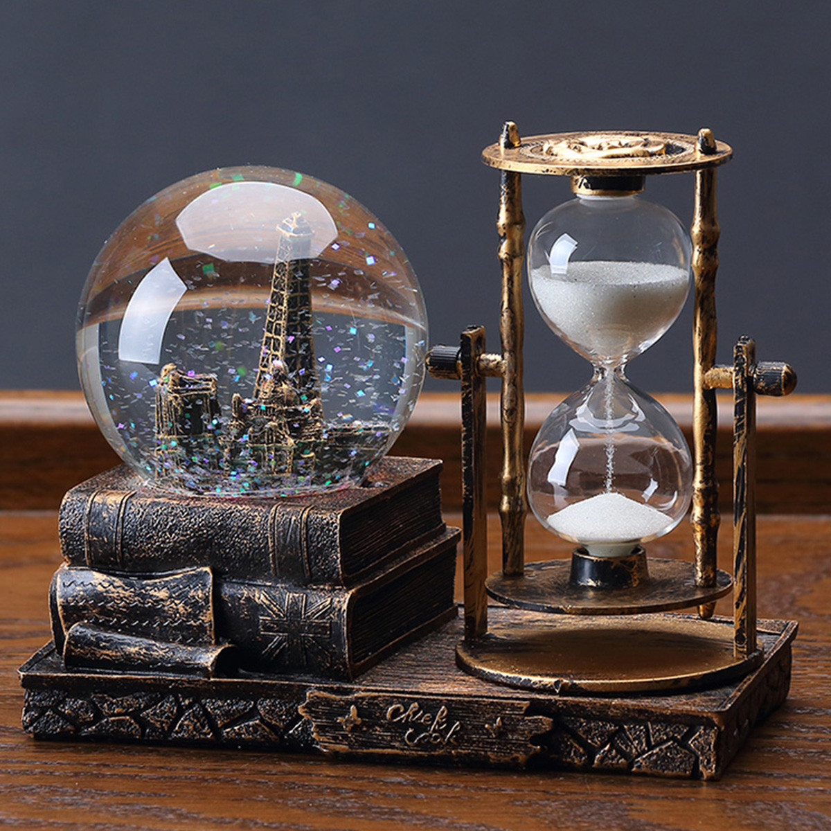 礼物水晶球沙漏计时器创意摆件客厅家居桌面装饰品工艺品 复古铜