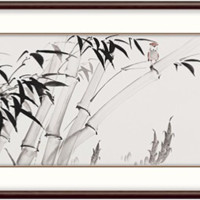 弘舍 吴亚坤 节节高升竹子水墨画《高风亮节》成品尺寸210x70cm 宣纸 雅致胡桃