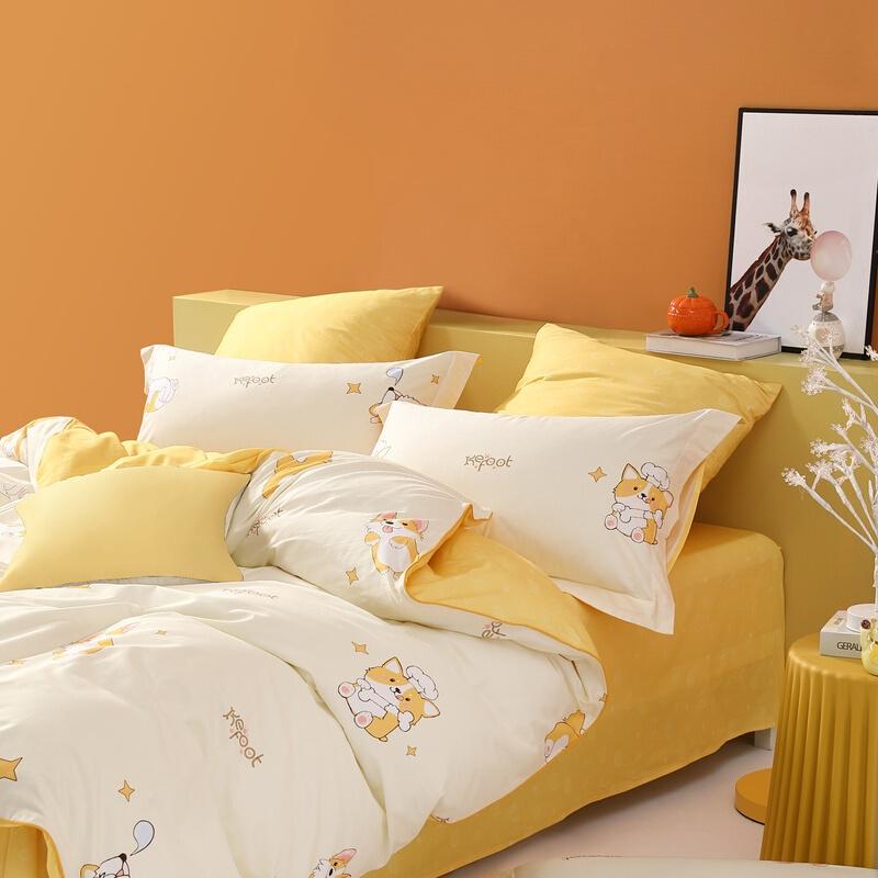 MERCURY 水星家纺 四件套纯棉床上用品印花全棉被套床单被罩枕套双人/单人套件2021新品 哈里 180cm×200cm