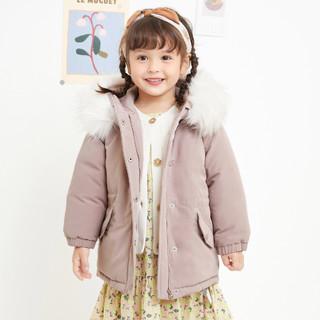 女童時尚毛領棉服
