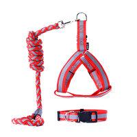 CHOWSING 宠幸 宠物反光背带牵引绳 红黑色