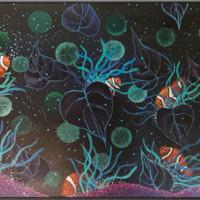 ARTMORN 墨斗鱼艺术 周歆 抽象海底世界油画原作《小情歌》60x40cm 布面丙烯 新中式轻奢挂画