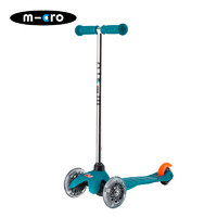 micro 米高micro 迈古m-cro mini三轮儿童滑板车重力转向溜溜车 湖蓝色 LED闪光轮2-5岁 身高85-110CM