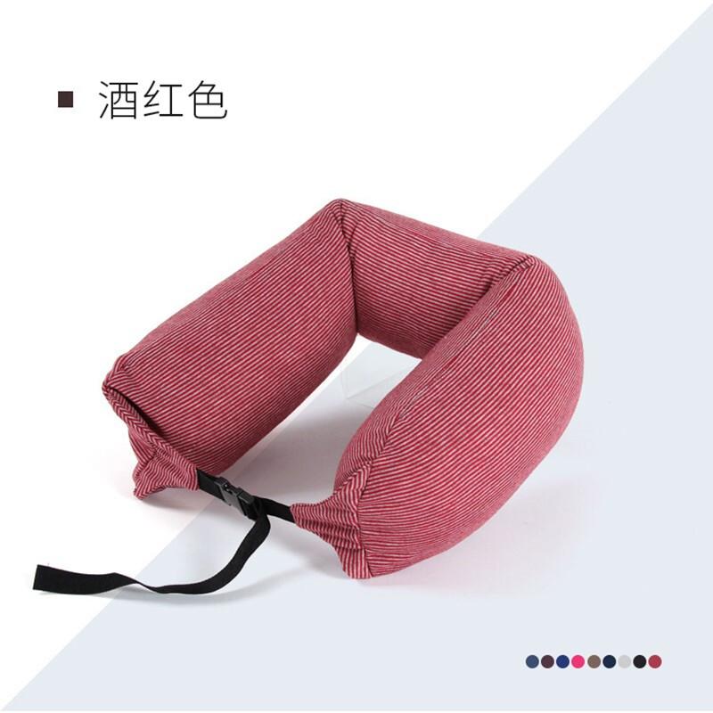 TOPENTAR 微粒子多功能U型枕 酒红条纹