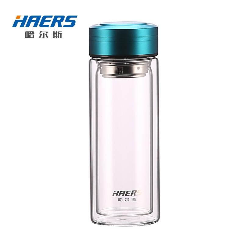 HAERS 哈尔斯 双层玻璃杯 300ml 蓝色
