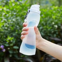 莱贝(RYBACK)便携运动水壶可折叠硅胶水杯旅行出差户外饮水壶骑行跑步防漏水瓶软水袋登山防摔软杯子 白色 500ml