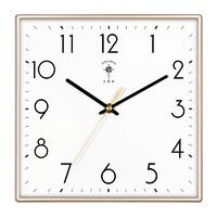 北极星(POLARIS)方形挂钟客厅北欧时尚钟表家用现代简约静音石英钟挂墙卧室电子万年历时钟薄边挂表 北欧金(25.0*25.0厘米,静音准时)
