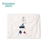 Purcotton 全棉时代 婴儿纱布汗巾纯棉吸汗巾隔汗巾 25*50cm(船锚+轮船+帆船)3条/袋