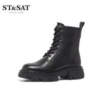 ST&SAT 星期六  SS04118630 女款中跟圆头方跟短靴