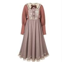 十三余 小豆蔻儿 桃花河豚 绣花长袖蕾丝国风刺绣连衣裙 SYS141838 粉/紫