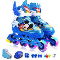 迪士尼溜冰鞋儿童轮滑鞋套装男女孩旱冰鞋8轮全闪可调节 M(平时鞋码32-37)(7-10岁) 蓝色米奇套装(8轮闪光)
