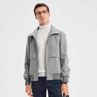 K-BOXING 劲霸男装 秋季新款男士夹克翻领短版毛呢茄克外套
