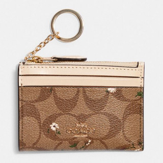 COACH 蔻驰 奢侈品 女士迷你款卡夹卡其色印花PVC配皮 C4476 IME7V