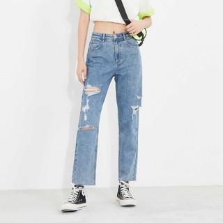 ONLY 2021新款秋季高腰直筒破洞做旧九分牛仔裤女