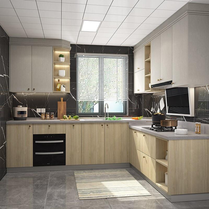 GOLDENHOME 金牌厨柜 整体橱柜定制厨房橱柜装修设计灶台柜定制石英石台面 金牌橱柜  预付金