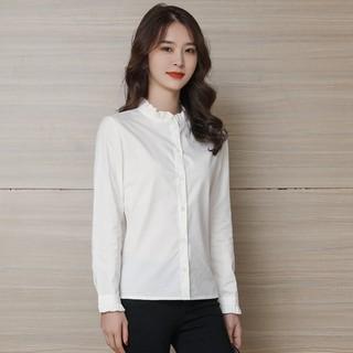 纯棉衬衫女长袖2021春秋装新款修身上衣气质木耳边立领打底白衬衣