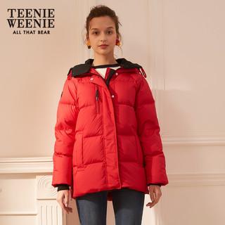TeenieWeenie小熊2018冬季新款女装连帽短款面包服加厚保暖羽绒服