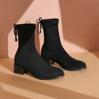 RED DRAGONFLY 红蜻蜓 冬季新款中跟靴子显瘦短靴弹力靴子瘦瘦靴优雅女靴