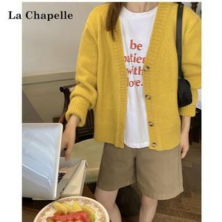 La Chapelle 拉夏贝尔 秋装宽松百搭短款针织开衫女日系上衣小众毛衣外套小香风