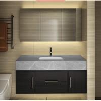 VINDAZ 卫达斯 WDZ-YB01 岩板浴室柜组合 E套餐灰色岩板 普通镜柜 抽拉龙头 80cm