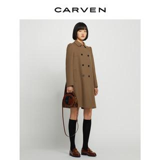 CARVEN 卡纷 女装21秋冬新品栗色A型羊毛双面呢中长大衣005001