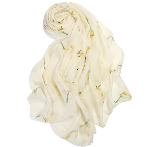杭丝路 女士桑蚕丝丝巾 HSL16088 清雅马蹄莲款 米黄 200*135cm