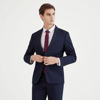 SEVEN 柒牌 西装礼服时尚竖条纹一粒扣西服套装商务正装男士套西