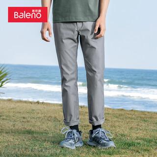 Baleno 班尼路 2021夏季休闲裤男 轻便舒适修身直筒休闲时尚弹力黑色长裤 00E 芋灰色 XL