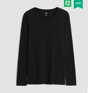 Gap 盖璞 女装莫代尔棉圆领长袖T恤499504 2021秋季新款女士纯色打底衫