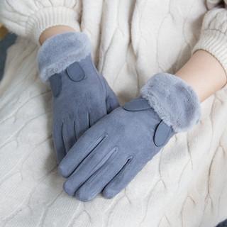 麂皮绒手套女冬加绒加厚保暖韩版甜美可爱卡通日系学生骑行防风